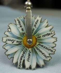 French Enamel Daisy/Lovers Spinning Wheel