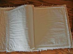 Fabric Art Journal cotton book blank 16 pages large    $38. Fazendo as paginas forradas com costura a mao ficara bem melhor.
