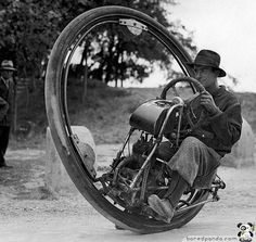 One wheel motorcycle (invented by Italian M. Goventosa de UDINE) Maximum speed: 150 kilometers per hour ( 93 Mph).