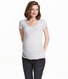 $9.99. MAMA Jersey Top | Light gray/striped | Ladies | H&M US