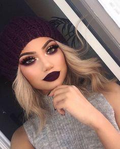 dark makeup looks 10 Dark Lipstick Colors To Try This Winter (dark lipstick colors) Glam Makeup, Skin Makeup, Beauty Makeup, Purple Makeup, Makeup Cosmetics, Pupa Cosmetics, Makeup Brushes, Burgundy Makeup Look, Makeup Shayla