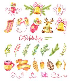 Cute Holidays. Watercolor clipart christmas by StarJamforKids