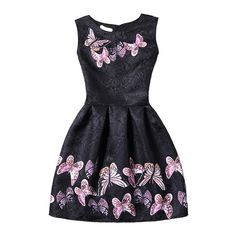 24d5e2d7176d SheIn(sheinside) Black Butterfly Print Fit   Flare Sleeveless Dress (57 RON)