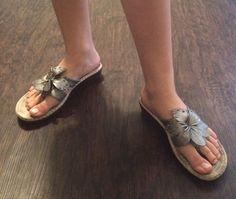 Silver CLIFFS WHITE MOUNTAIN Womens Size 8 M Slides Comfort Wedge Flower Sandals #WhiteMountain #Slides #Casual