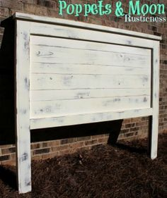 Reversible solid wood Vintage White w/ Gray Distressing --Queen Headboard! Farmhouse. Planked. all sizes available! on Etsy, $200.00