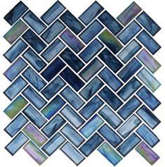 Oceania Glass Tile Mosaic - OCS-182 Cobalt Sea - 1X2 Herringbone Ocean Style Stained Glass - Iridescent | $19.98@