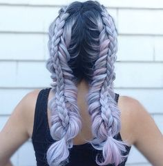 Dutch fishtails and 3 strand braids stacked on top by Alexandra Wilson