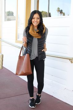 Four Comfy Winter Outfits With Leggings + Nordstrom's Half Yearly Sale Highlights! (Putting Me Together) Four Comfy Winter Outfits With Leggings + Nordstrom's Half Yearly Sale Highlights! Cute Outfits With Leggings, Legging Outfits, Athleisure Outfits, Leggings Fashion, Cheap Leggings, Shoes With Leggings, Leggings Outfit Fall, Outfit With Scarf, Black Vest Outfit