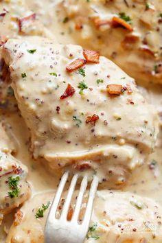 Creamy Honey Mustard Chicken With Bacon   https://cafedelites.com