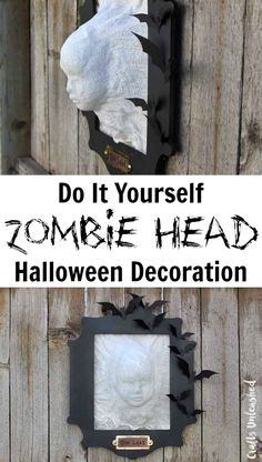 Zombie Head DIY Halloween Decoration.. cheesecloth and fabric stiffener.