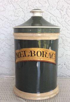 Apothecary MEL:BORAC Pharmacy Soft Paste Green Jar w/Cover 19th Century Antique  | eBay