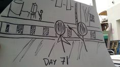 Day 71 of S7 and 1st Day filming episode 711 - sketch by Scott Clements