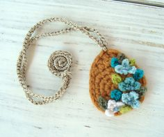 Crochet Necklace Mustard Yellow with Turquoise Flowers Pendant