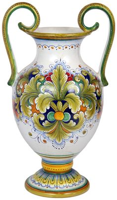 italian style pottery | Italian Ceramic handled Table Vase - Acanthus style - 42cm high x 25cm ...