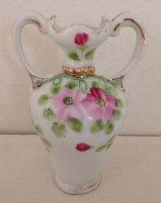 Nippon Hand Painted Floral & Gold Miniature Vase with Handles; GORGEOUS! #Nippon