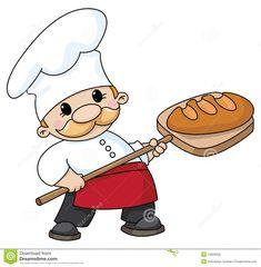 Panadero mostrando un gran pan.