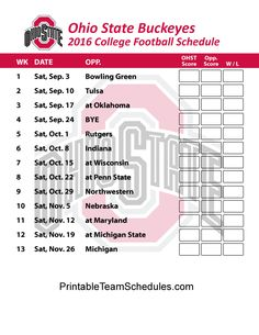 Ohio State Buckeyes  Football Schedule 2016. Printable Schedule Here…