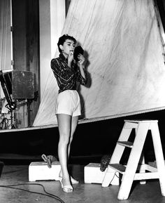 Audrey Hepburn on the set of Sabrina directed by Billy Wilder, 1954