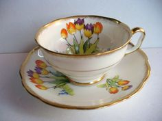 Very rare Royal Albert Crown China cup & saucer Tulip hand painted