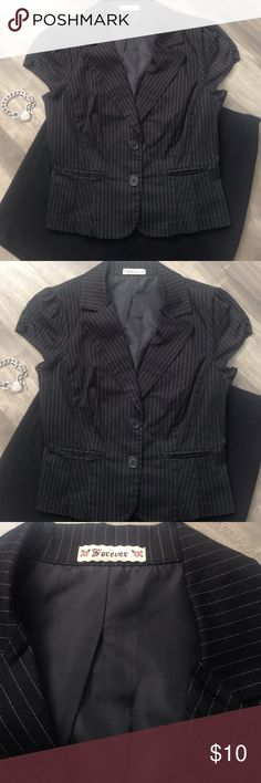 Forever Short sleeve pinstriped jacket vest top Forever Short sleeve, pinstripe,  2 button & two front pockets jacket blazer vest. Easily to dress up or down! Perfect for career, interview or play! Color: black & white, Size medium. No tears. Great condition! Fast shipping Forever 21 Tops