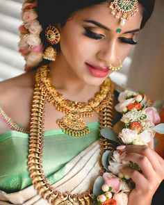 Ideas south indian bridal jewelry sets wedding bride for 2019 Bridal Makeup Looks, Indian Bridal Makeup, Bridal Looks, Bridal Style, Bride Makeup, Kerala Bride, Hindu Bride, South Indian Bride, Indian Groom