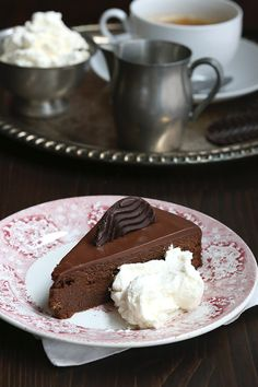 ... torte, a rich, dense chocolate cake with apricot jam and chocolate