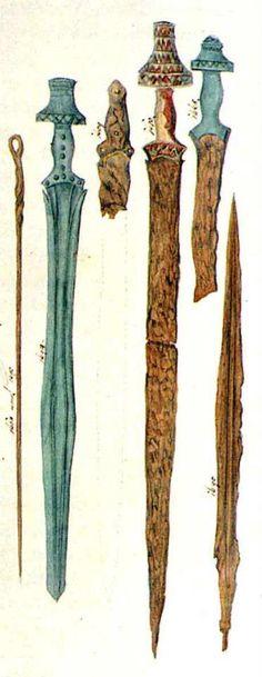 Drawing of Hallstatt culture swords found in Hallstatt