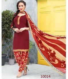 Crepe Lace Work Plain Maroon Unstitched Patiala Suit - K14