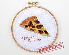 Together Forever Pizza Cross Stitch Pattern by TheStrandedStitch