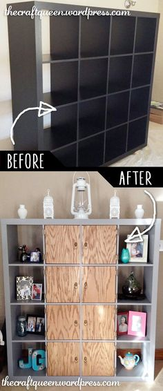 DIY Furniture Makeovers - Refurbished Furniture and Cool Painted Furniture Ideas for Thrift Store Furniture Makeover Projects | Coffee Tables, Dressers and Bedroom Decor, Kitchen |  Ikea Expedit Hack Shelves Makeover  |  http://diyjoy.com/diy-furniture-makeovers