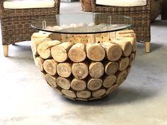 Mesas de tresillo - Massive Coffee Table Teak 60 - 100cm Glasplate - hecho a mano por Picassi_de en DaWanda