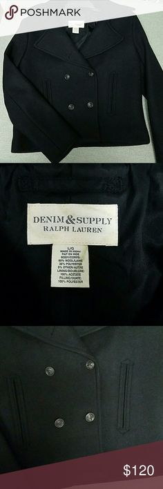 SALE Denim & Supply Ralph Lauren Pea Coat Denim & Supply Ralph Lauren Pea Coat size large, fits a size 10, hip length, solid black, made with a wool blend, new condition never worn. Please message me if you have any questions! DISCOUNTED SHIPPING FOR THE NEXT HOUR!!! Denim & Supply Ralph Lauren Jackets & Coats Pea Coats