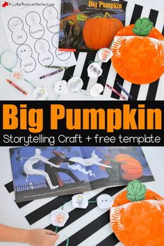 Big Pumpkin Halloween Storytelling Paper Plate Craft and Free Printable Template for kids to color, cut, and sequence. Easy Halloween Crafts, Halloween Books, Halloween Activities, Autumn Activities, Halloween Pumpkins, Halloween Fun, Preschool Halloween, Fall Preschool, Preschool Activities