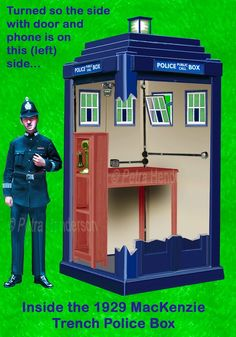 Inside a MacKenzie-Trench-Police-Box-PCHPB. In case you have ever wondered. Doctor Who Episodes, Doctor Who Tv, Doctor Who Tardis, Dalek Costume, Original Doctor Who, Police Box, Police Cars, London Police, Tv Doctors