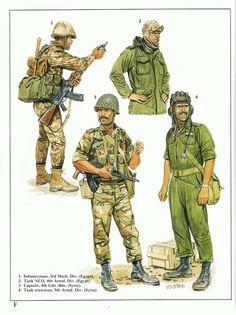 Gulf War:  1: Infantryman, 3rd Mech. Div. (Egypt);  2: Tank NCO, 4th Armd. Div. (Egypt);  3: Captain. 4th Cdo. Bde. (Syria);  4: Tank crewman, 9th Armd. Div. (Syria)