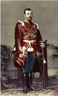 Tsar Nicholas II of Russia wearing the uniform of British hussars and chain of the Order of the Garter