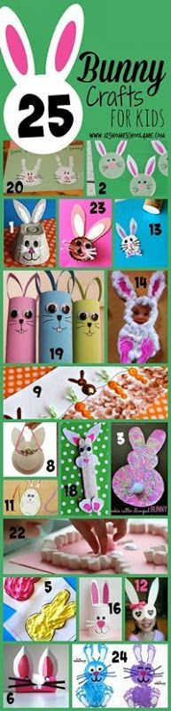 25 Bunny Crafts for Kids - These are such fun, creative ideas for spring crafts or Easter crafts for Toddler, Preschool, Kindergarten, and elementary age kids too!