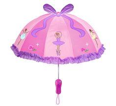 Ballerine Umbrella By Kidorable  (http://www.dllrainwear.com/kidorable-girls-pink-and-purple-ballerina-umbrella/)