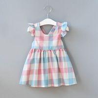 Hurave Verano Niños Ropa de Bebé Ropa de La Muchacha Color de la Tela Escocesa Vestido de Los Cabritos Muchachas de la Manera Vestidos
