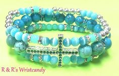 Turquoise Cross Beaded Bracelet by RandRsWristCandy on Etsy, $9.00