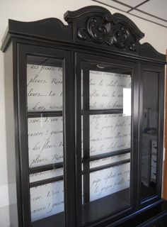 DIY French Script Hutch. I like the appearance of script in the background inside the hutch.