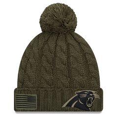 7bee01a69 Women s Carolina Panthers New Era Olive 2018 Salute to Service Sideline  Cuffed Pom Knit Hat