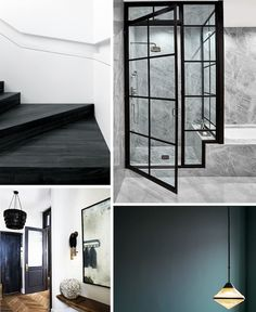Inspiration for moody interiors. I especially admire the internal warehouse windows against the concrete bathroom in the top right image.