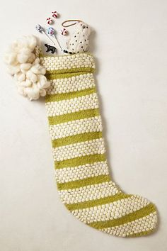 Down the Chimney Stocking  //  anthro, anthropologie, striped, stocking, christmas, holiday, chartreuse, cute stocking, christmas, holiday, christmas decor