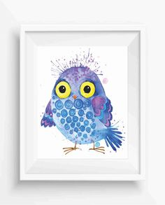 Owl watercolor Blue and Yellow owl nursery print Owl Nursery Art Print  New baby  shower gift  cute owl instant download,digital prints