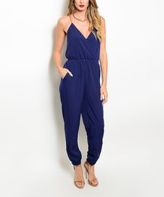 Another great find on #zulily! Forever Lily Navy Blue Surplice Jumpsuit by Forever Lily #zulilyfinds