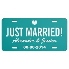 Teal Just married #license #plate for #wedding car