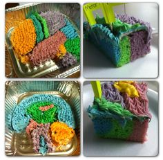Brain cake for psychology with coordinating cake/frosting colors. Each color is a different section of the brain.
