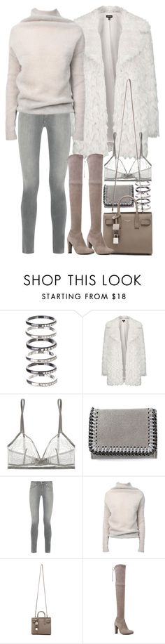 """Untitled #8372"" by nikka-phillips ❤ liked on Polyvore featuring M.N.G, Topshop, Eres, STELLA McCARTNEY, rag & bone, Rick Owens, Yves Saint Laurent and Stuart Weitzman"