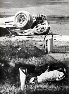 Mike Parkes accident at Spa, Belgium 1967. Not dead but seriously blessed at the head and legs. 2 years after, he will return to  the competition.
